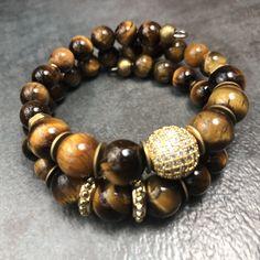 KING CHAKA Mens Tiger Eye Bracelet, Memory Wire Bracelet, Gemstone Bracelet