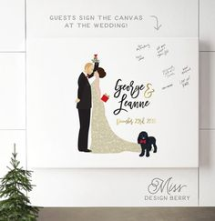 Christmas Wedding Guest Book Alternative, Custom Design by Miss Design Berry