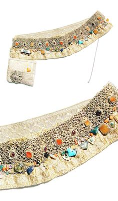 Tatarstan - Kazan | Pectoral (bandalier); Cloth, brocade, silver, semi precious stones | ca. Late 19th to early 20th century