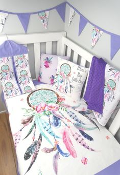 The beautiful Dreamcatcher in Purple nursery set is just gorgeous. All of the items can be purchased separately in store from their specific sections OR you can purchase one of the options in this listing, there are 9 to choose from. Dream Catcher Nursery, Cot Quilt, Quilts, Girl Cribs, Baby Girl Bedding, Purple Baby, Bright Purple, Crib Sets, Baby Cot Sets