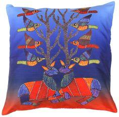 SouvNear Birds Cushion Cover - Decorative Discount Throw Pillow Case Covers Inch Cushion Cover with Zipper- Silk Pillowcase - Living Room Decor Throw Pillow Cases, Decorative Throw Pillows, Pillow Covers, India Home Decor, Handmade Cushion Covers, Antler Art, Pillow Cover Design, Bird Design