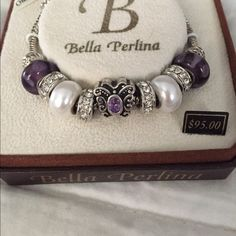 Authentic Bella Perlina purple butterfly sparkly bracelet