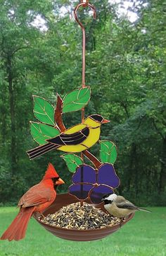 Stained Glass Bird Feeder Goldfinch I plan to make something like this for my new deck....get some birds keeping me company.