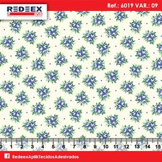 Estampa Mini Buquê Azul | Desenho 6019 Variante 09 . Disponibilidade de Larguras e Comprimentos sob consulta!