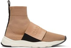 fb0ca60ac01c7 Balmain Pink Cameron High-Top Sneakers High-top mesh and buffed leather  slip-on sneakers in poudre pink. Round toe. Tonal embossed logo stamp at  elasticized ...