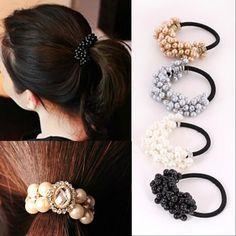 New Korean Women Flower Headwear Accessories Rhinestone Imitation Pearls Beads Elastic Hair Band/Ties Ponytail Holder Hairband