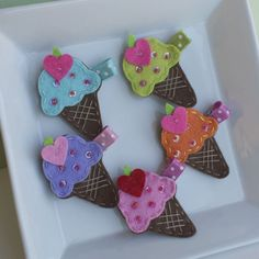 Felt Ice Cream Cone Clip-felt ice cream, ice cream cone, summer hair clips