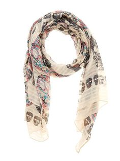 I love this multicoloured skull-print scarf to shake up a neutral outfit. It will look great with jeans, a trench and long-sleeve T-shirt.  #FLYshop