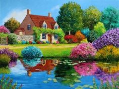 Lady of the Lake (Blue) Poster Print by Jean-Marc Janiaczyk x Colorful Paintings, Beautiful Paintings, Beautiful Landscapes, Landscape Art, Landscape Paintings, Kinkade Paintings, Cottage Art, Naive Art, Acrylic Art