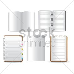 books and spiral notebooks Stock Vector