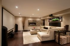 Contemporary basement basement contemporary with built in dark wood realstone…