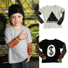 Cotton Long Sleeved T-shirts with Tatoo Imitation -- Price: $10.41 ---- FREE Shipping Worldwide  https://gookiddy.com/cotton-long-sleeved-t-shirts-with-tatoo-imitation/    #kids_brand #kids_fashion_city