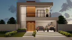 House Fence Design, Duplex House Design, Small House Design, Modern House Design, Large Homes Exterior, Exterior Design, Double Story House, Architect Design House, House Architecture Styles
