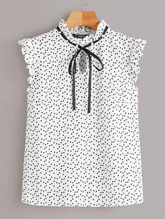Shop Tie Neck Pearl Beaded Ruffle Top at ROMWE, discover more fashion styles online. Summer Shirts, Summer Blouses, Fashion News, Fashion Outfits, Looks Plus Size, Tie Neck Blouse, Women Ties, White Outfits, Ruffle Top