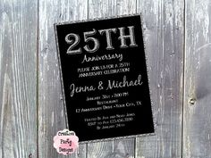 25th Anniversary Party Invitation - 25th Anniversary Party Invitation - Custom Colors - 20th, 30th, 40th, 50th, 60th - Milestone Birthday Party - $15.00 - Save 30% today by entering Coupon Code PIN30!