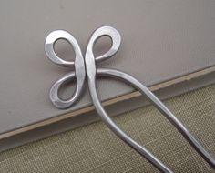 Double Hair Fork or Shawl Pin - Trinity Loop Aluminum. $16.50, via Etsy.