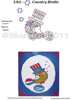 Country Birdie on Craftsuprint designed by Silvia Griffin - A lovely bird I made with red white and blue colors for USA - but can be adapted to any country colors. Thank you for looking at my creations. - Now available for download!