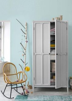 This piece of storage furniture has a really homely feel to it, combining simple lines and an original touch from cutout detailing. Tall Cabinet Storage, Locker Storage, Furniture, Storage Spaces, Home Furniture, Storage Furniture, Cupboard Design, Wardrobe Furniture, Home Decor