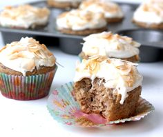 Skinny Hummingbird Cupcakes with Toasted Coconut Cream Cheese Frosting