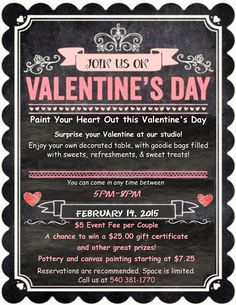 Paint N' Fun presents Paint Your Heart Out for Couples on Valentine's Day, Saturday, February 14th from 5-8 pm.