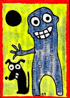 certifiable e9Art ACEO Dog Outsider Folk Art Brut Painting Abstract Collage Self-Taught