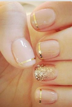 Gold decor nails for my bridesmaids. They would look great on all length of nails, and the design is gorgeous.