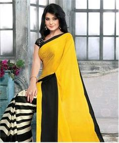 Poly Crepe Saree with Blouse | I found an amazing deal at fashionandyou.com and I bet you'll love it too. Check it out!