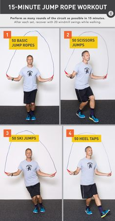 15 minute amazing jump rope workout. Excellent cardio and fat burning workout, and it's fun! Especially since I hate running.