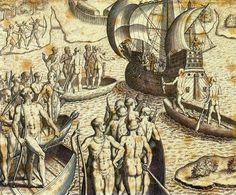 Theodor de Bry - Ataque de Portugueses e Tupiniquins às Cabanas Tupinambás - Povos indígenas do Brasil – Wikipédia, a enciclopédia livre