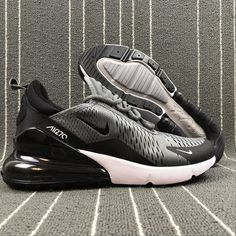 Top Quality Nike Air Max 270 Retro Grey Black-White Men s Skateboarding  shoes Casual 66142f246d