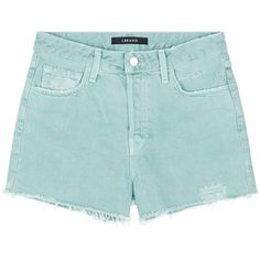 J Brand 'Gracie' high rise distressed denim shorts (10,755 INR) ❤ liked on Polyvore featuring shorts, bottoms, green, high-waisted shorts, high waisted cuffed shorts, torn shorts, ripped shorts and high rise shorts