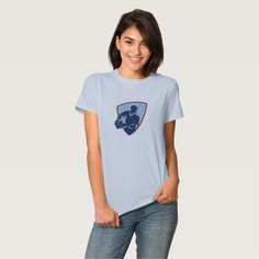Rugby Player Passing Ball Shield Retro T Shirts. Rugby World Cup women's t-shirt showing an illustration of a rugby player running about to pass the ball done in retro style set inside shield. #rwc #rwc2015 #rugbyworldcup