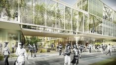 Competition-winning proposal for the Technical University Denmark by Christensen & Co. Architects (Interesting use of black and white people in a colour rendering)