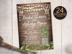 Rustic Bridal Shower Invitation, Greenery Botanical Bachelorette, Hens Party, Rehearsal Wedding, DIY Printable, FREE SHIPPING! (B53) Greni