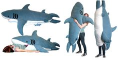 Shark Pillow!  This would be hilarious to do to embarrass my kids when their friends come over...when they're teenagers of course...right now they would just think I was the coolest Mom ever!! :D