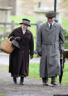 Mrs. Patmore - better known as actress Lesley Nicol - was photographed walking with an unknown male character, could love be in the air for Mrs. Patmore?