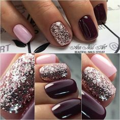 54 Autumn Fall Nail Colors Ideas You Will Love Burgundy & Pink nails. Are you looking for autumn fall nail colors design for this autumn? See our collection full of cute autumn fall nail matte colors design ideas and get inspired! Pink Gel Nails, Dark Nails, Fancy Nails, Matte Nails, Love Nails, My Nails, Opi Shellac, Acrylic Nails, Pretty Nails
