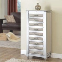 Nathan Direct Lauren Upholstered Jewelry Armoire - Jewelry Armoires at Hayneedle