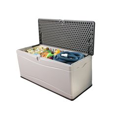The large Lifetime outdoor storage box has a 500 Litres interior capacity. The Lifetime storage box also characterises a double-walled polyethylene construction, UV-protected high-density polyethylene (HDPE) plastic construction and a water-resistant seal to keep your storage items safe and dry. Perfect for your outdoor pool toys or gardening tools.