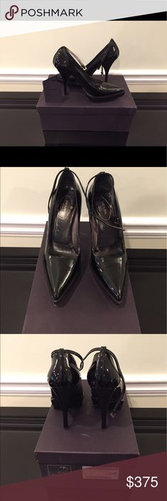 """PRADA Calzature Donna  black ankle strap pumps Prada Calzature Donna Vernice Silk black ankle strap patent leather pumps. Sz 37 or 7 US. Heel height ; 4.5"""". Amazing condition!! Prada Shoes Heels"""