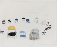 Beka Goedde  14 folding chairs around, 2011  pencil and watercolor on an-jing paper