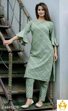 Hot Selling Rayon Printed Kurta Bottom Set from Stf Store Kurti Designs Party Wear, Kurti Neck Designs, Salwar Designs, Blouse Designs, Short Kurti Designs, Pakistani Fashion Casual, Pakistani Outfits, Indian Fashion, Designer Kurtis