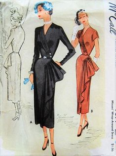 FILM NOIR Cocktail Party Evening Dress Pattern McCALL 7894 Gorgeous Flattering Design Bust 32 Vintage Sewing Pattern-Authentic vintage sewing patterns: This is a fabulous original dress making pattern, not a copy. Because the sewing patterns ar Evening Dress Patterns, Dress Making Patterns, 1940s Fashion, Vintage Fashion, Vintage Dresses, Vintage Outfits, Pattern Pictures, Carnival Costumes, Antique Clothing