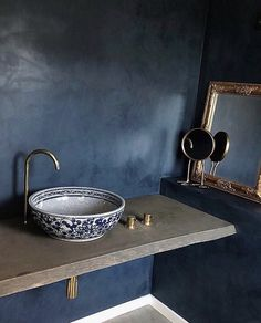 Bathroom in Deep Blue complemented by brass details and a hand painted ceramic sink adding a hint of Moroccan luxury. Small Bathroom Tiles, Bathroom Vanity Designs, Modern Master Bathroom, Minimalist Bathroom, Diy Bathroom Decor, Bathroom Basin, Bathroom Styling, Bathroom Interior Design, Bathroom Colors