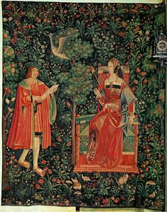 RENAISSANCE TAPESTRY 16TH  La vie seigneuriale - The life of the nobles: Reading. Loire valley workshop, 16th.  Musee du Moyen-Age(Cluny), Paris, France