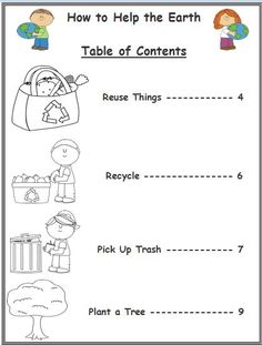 Freebie! This is a Table of Contents activity based on the Earth Day theme. This activity will help the teacher assess students' understanding of how to read and locate information using the table of contents. Graphics from www.mycutegraphics.com