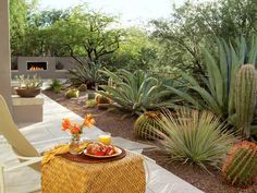 """Many of these patios face breathtaking views. In this Tucson garden, native plants such as agaves, barrel cactus, and saguaros bring the desert's natural vegetation right up to the patio, expanding and framing the views. Because the patio faces south, it is warmed slowly as the sun rises through the mesquites and acacias that border the property. """"In summer it's a great place to be before the day gets too hot,"""" says landscape architect Rebecca Doxtater.Design: Rebecca Doxtater Landscape…"""