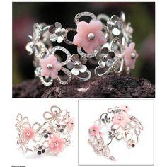 NOVICA Rose quartz flower cuff bracelet ($260) ❤ liked on Polyvore featuring jewelry, bracelets, cuff, rose quartz, cuff jewelry, flower jewellery, pink jewelry, daisy jewellery and novica