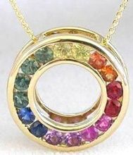 Rainbow sapphire circle pendant/ 14k gold 749