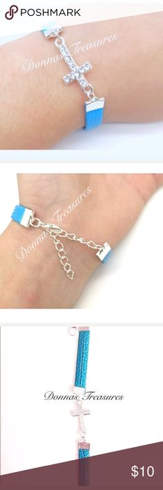 """❤️Blue Vegan Leather & Crystal Cross Bracelet This attractive bracelet measures 6"""" & has an extender chain that measures an additional 2"""". The metal is made of nickel free alloy. The cross is studded with 12 rhinestones. Makes a beautiful statement! Jewelry Bracelets"""